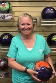 Dodie Melendez poses for a photo fresh off her 516 series in the Kings & Queens League in Mesquite last week. It was her first 500 in three years.