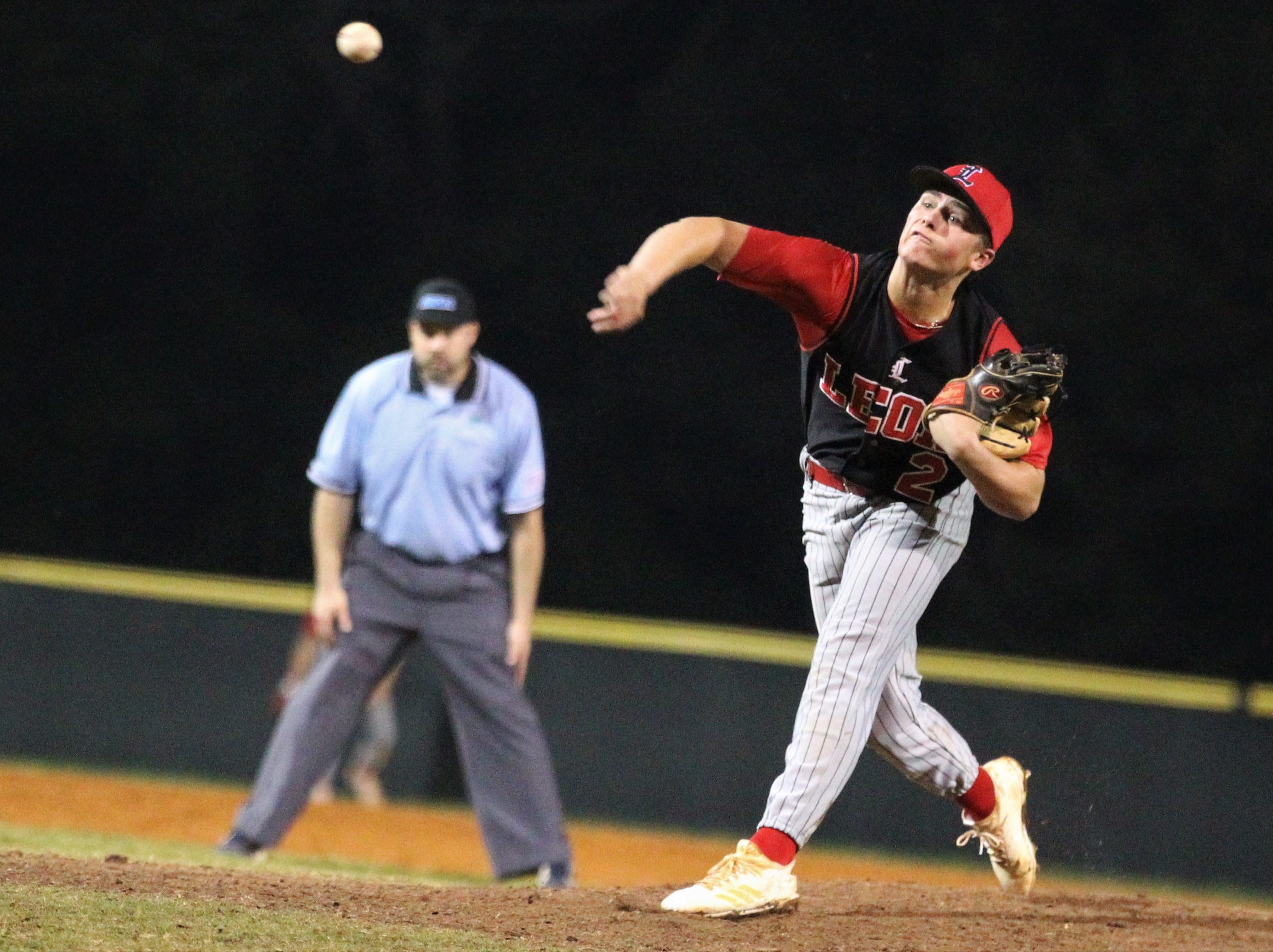 Leon junior Paxton Tomaini pitches in relief as Chiles won an 11-6 home game against Leon on Friday, April 5, 2019, to force a season split. The Lions won 3-0 earlier in the week.