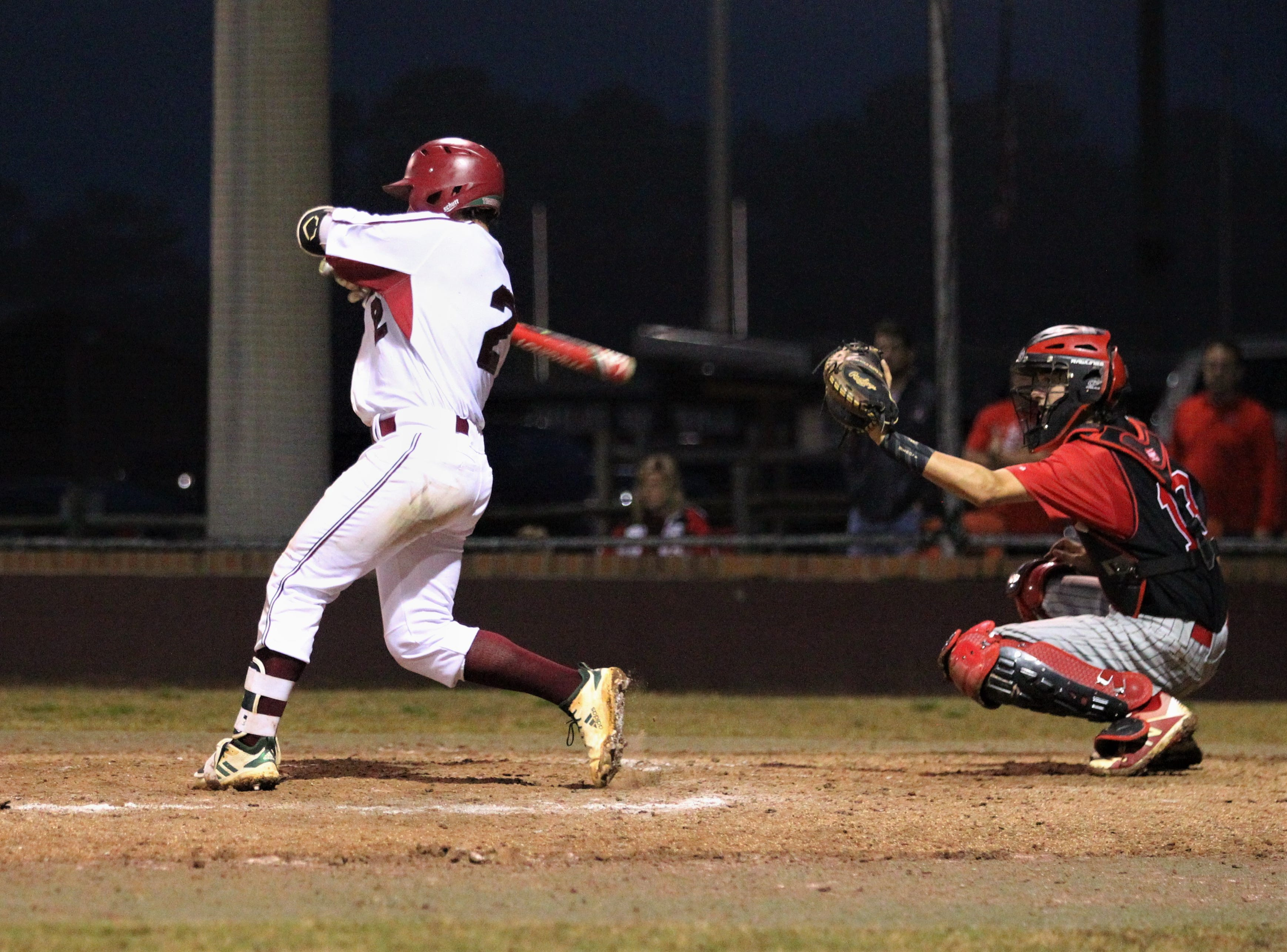 Chiles senior Cal McCallum bats as Chiles won an 11-6 home game against Leon on Friday, April 5, 2019, to force a season split. The Lions won 3-0 earlier in the week.