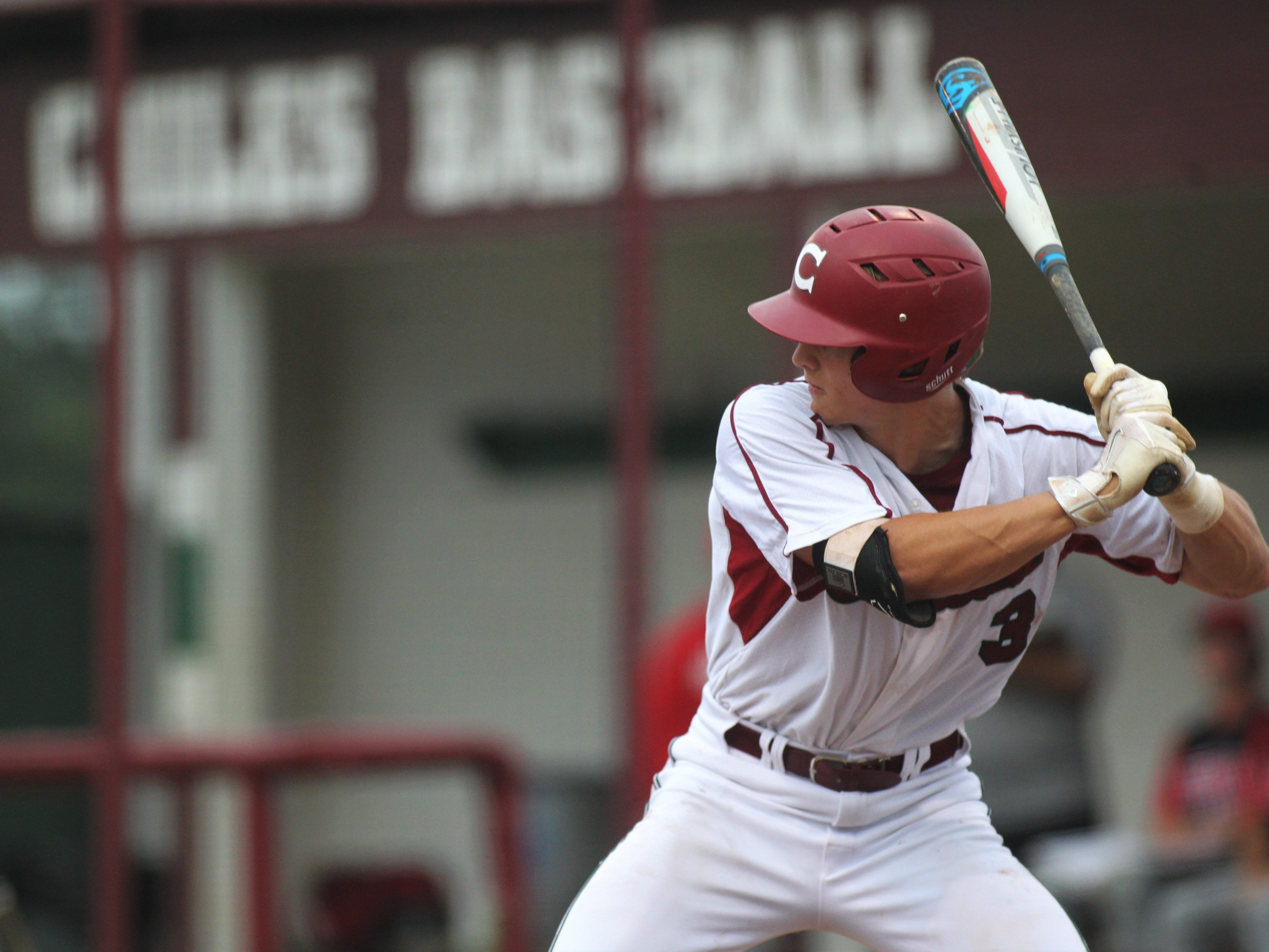 Chiles junior Garrett Greene bats as Chiles won an 11-6 home game against Leon on Friday, April 5, 2019, to force a season split. The Lions won 3-0 earlier in the week.