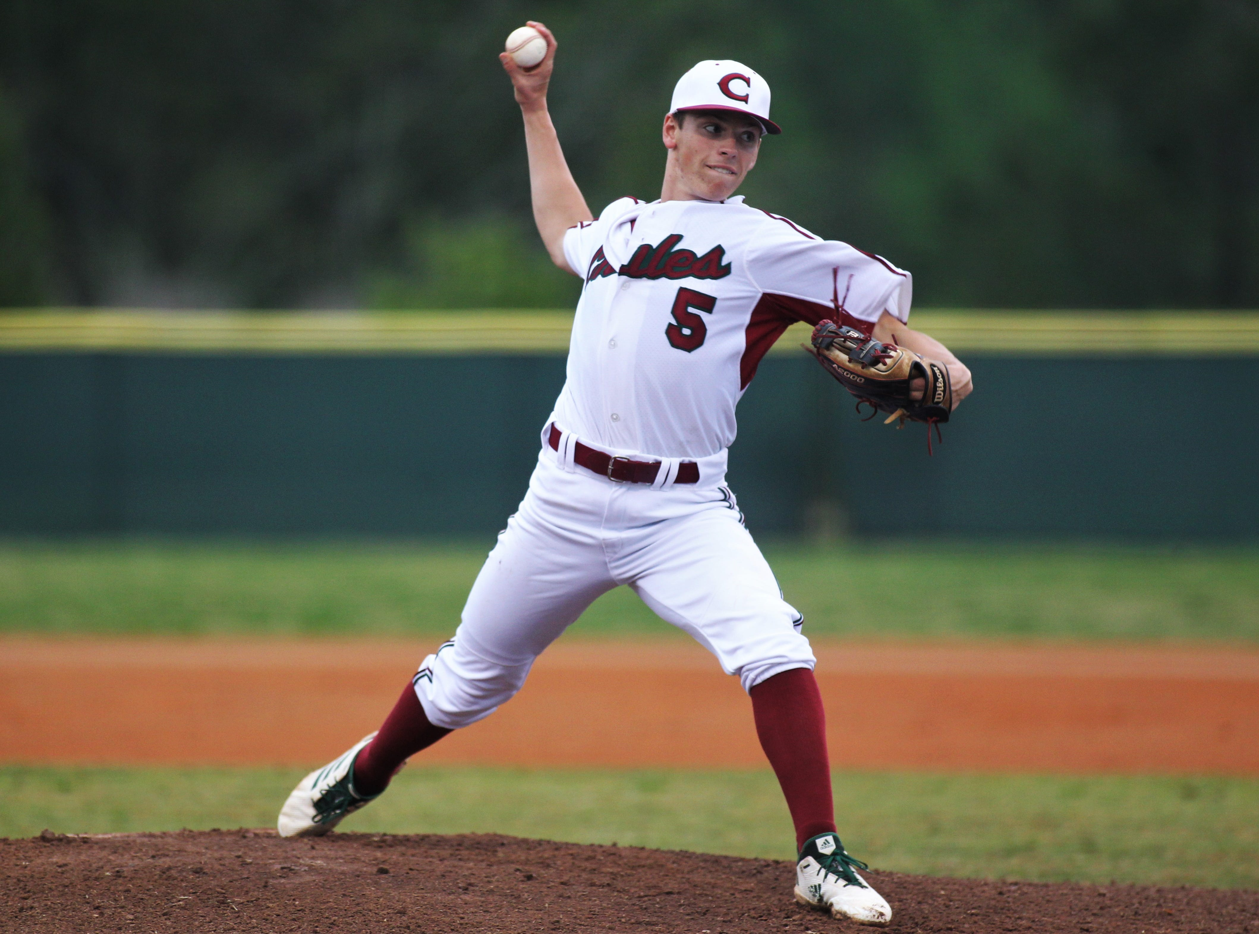 Chiles senior Ben Gurley pitches as Chiles won an 11-6 home game against Leon on Friday, April 5, 2019, to force a season split. The Lions won 3-0 earlier in the week.