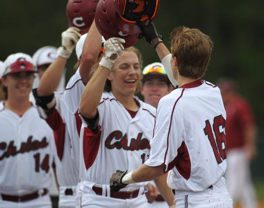 Chiles senior Sam Rudd is congratulated after hitting a home run as Chiles won an 11-6 home game against Leon on Friday, April 5, 2019, to force a season split. The Lions won 3-0 earlier in the week.