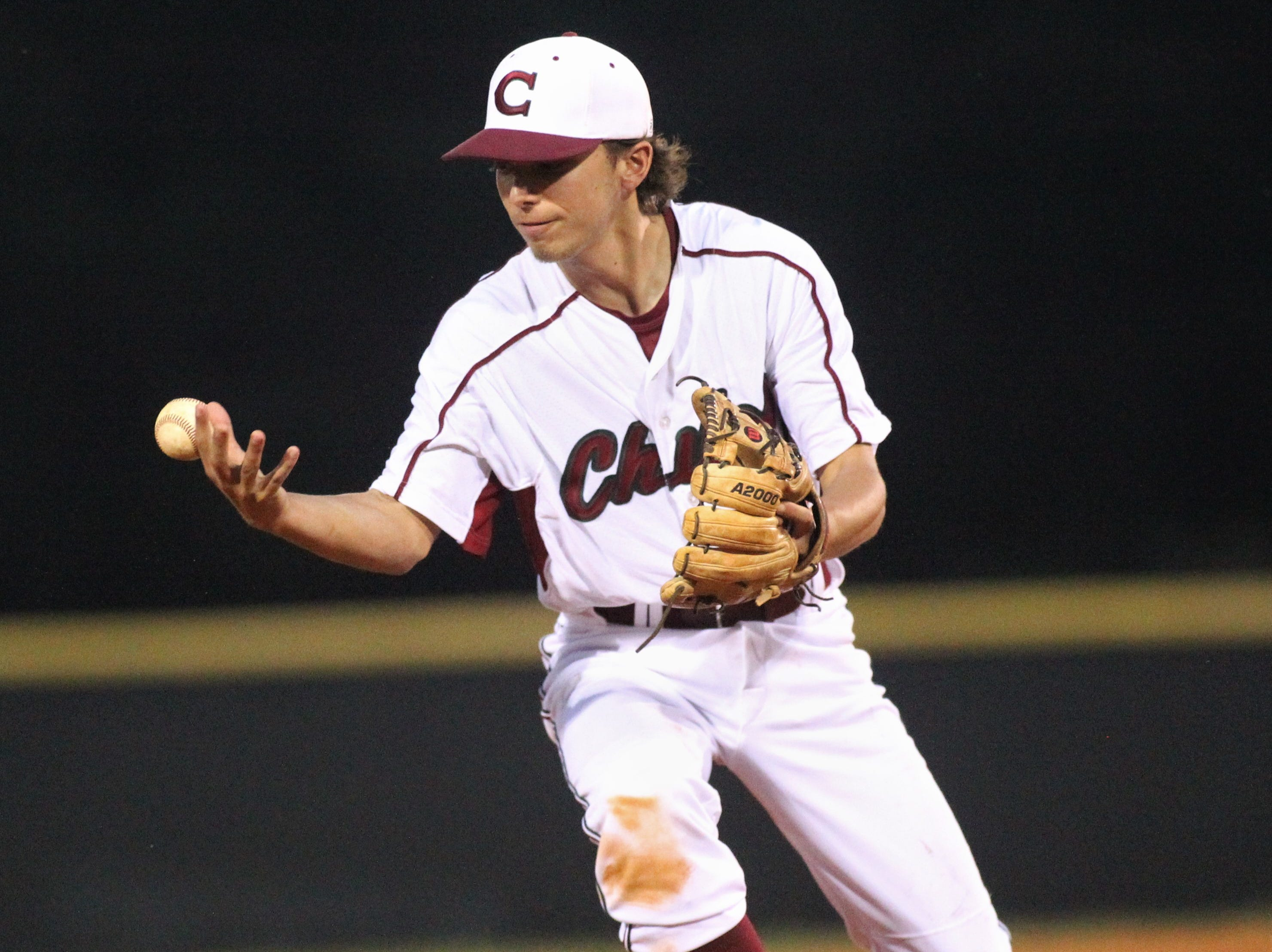 Chiles shortstop Mason Correa can't handle a hop as Chiles won an 11-6 home game against Leon on Friday, April 5, 2019, to force a season split. The Lions won 3-0 earlier in the week.