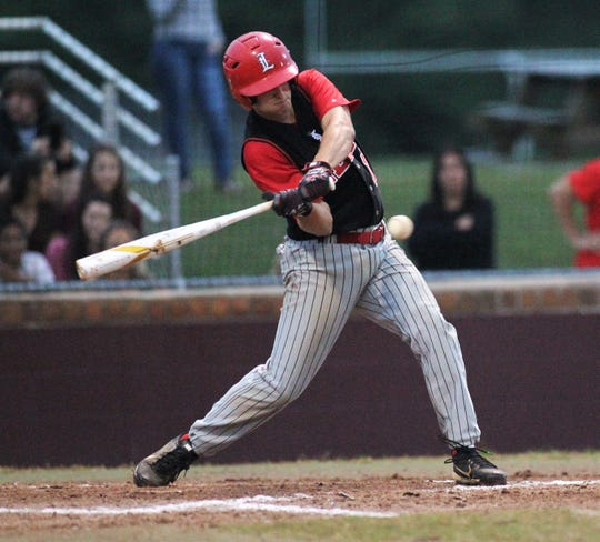 Leon senior Jordan Smith laces a hit as Chiles won an 11-6 home game against Leon on Friday, April 5, 2019, to force a season split. The Lions won 3-0 earlier in the week.