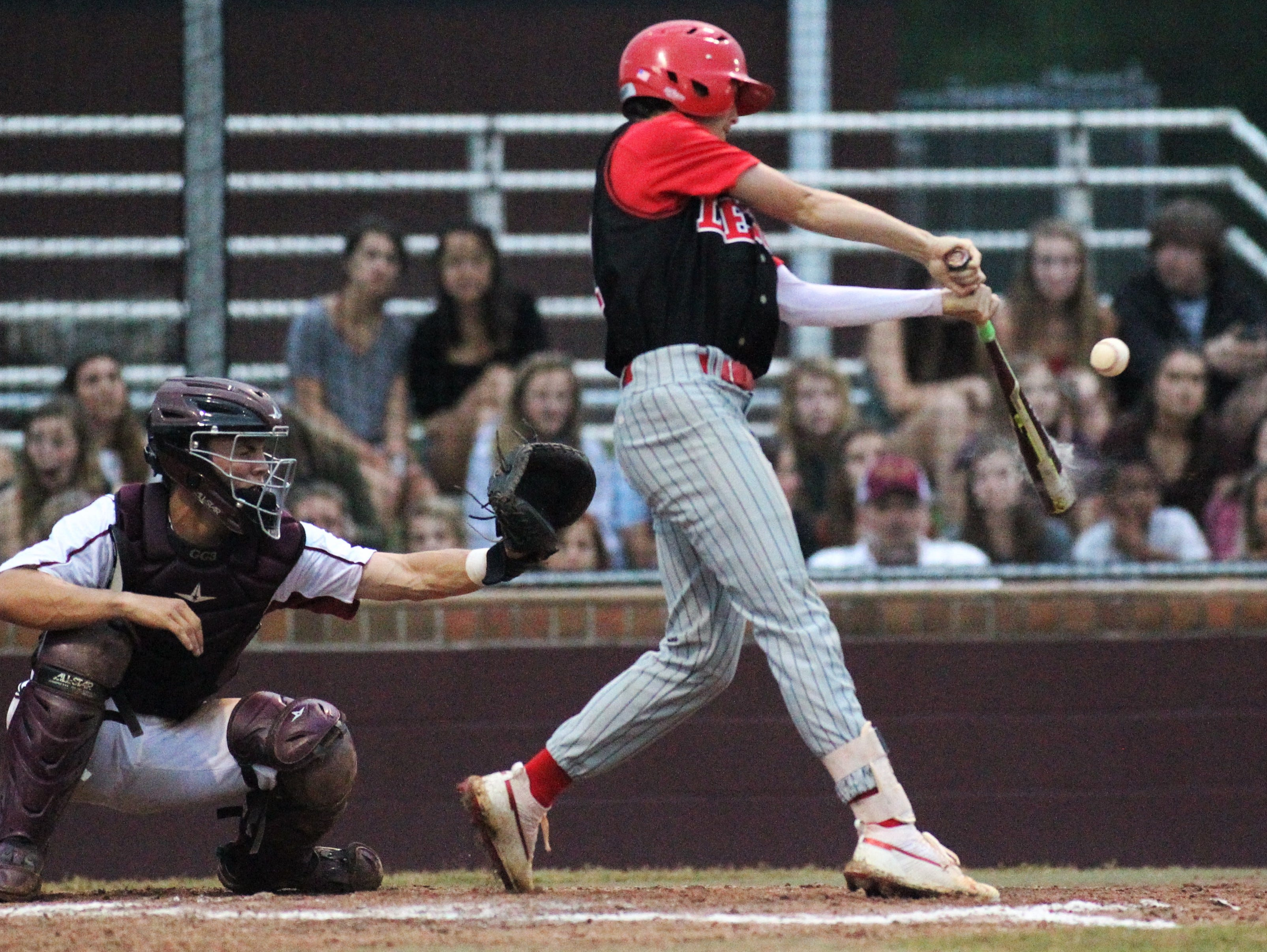 Leon junior Garrett Green bats as Chiles won an 11-6 home game against Leon on Friday, April 5, 2019, to force a season split. The Lions won 3-0 earlier in the week.