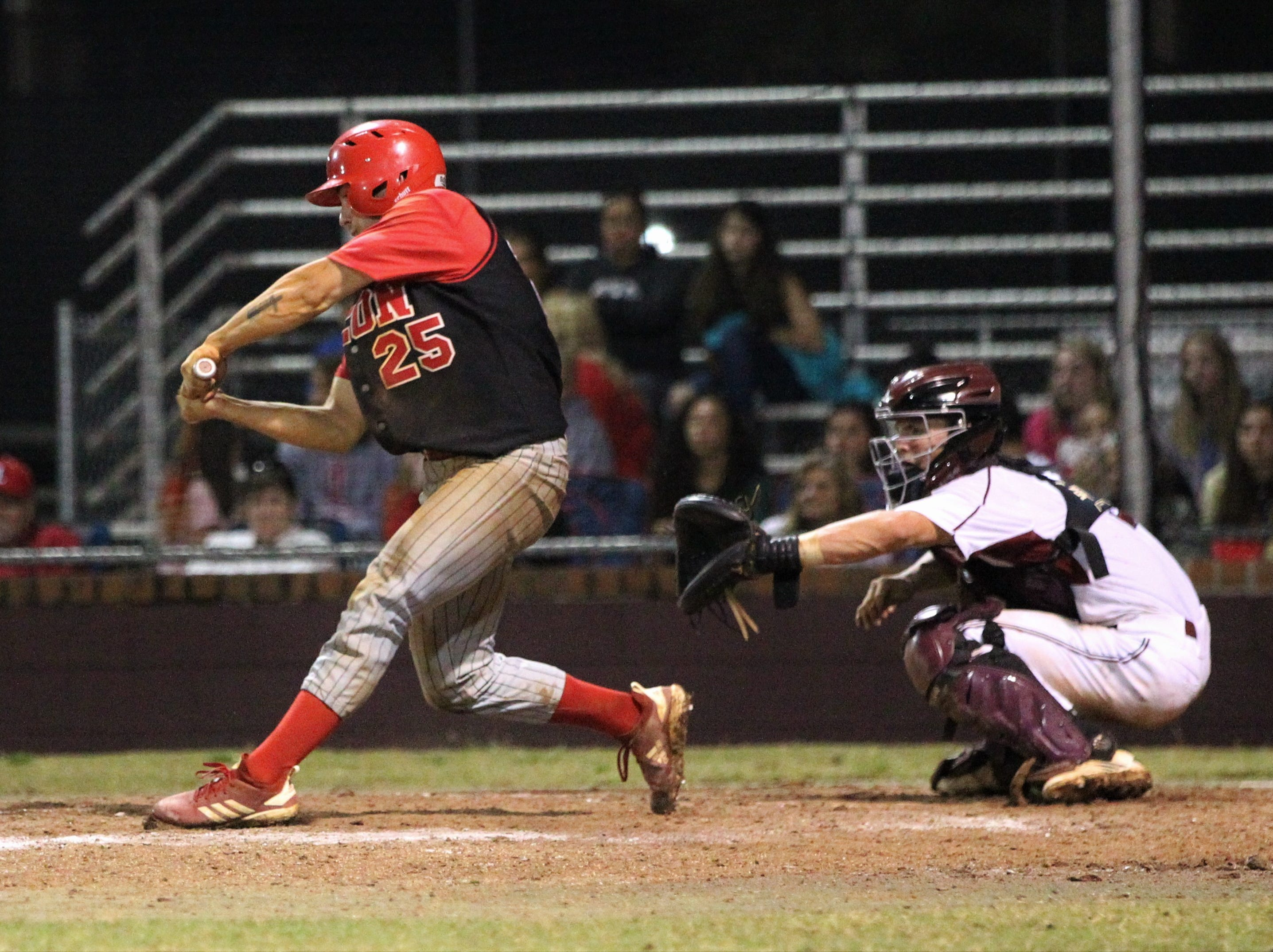 Leon senior Tyler Borges bats as Chiles won an 11-6 home game against Leon on Friday, April 5, 2019, to force a season split. The Lions won 3-0 earlier in the week.