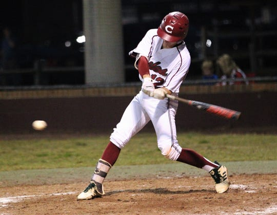 Chiles freshman Jaxson West bats as Chiles won an 11-6 home game against Leon on Friday, April 5, 2019, to force a season split. The Lions won 3-0 earlier in the week.