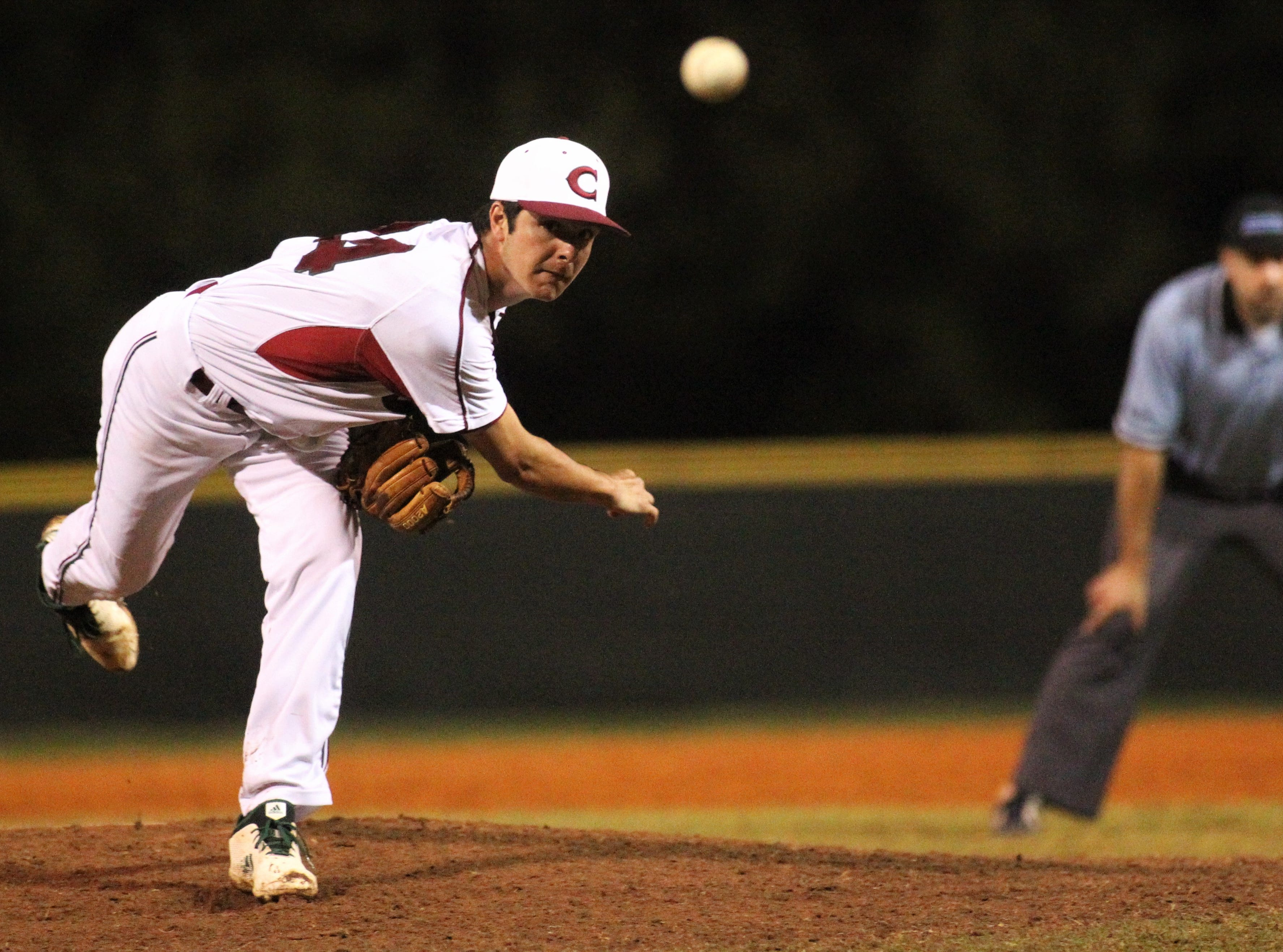 Chiles junior Bryson Cooksey pitches in relief as Chiles won an 11-6 home game against Leon on Friday, April 5, 2019, to force a season split. The Lions won 3-0 earlier in the week.