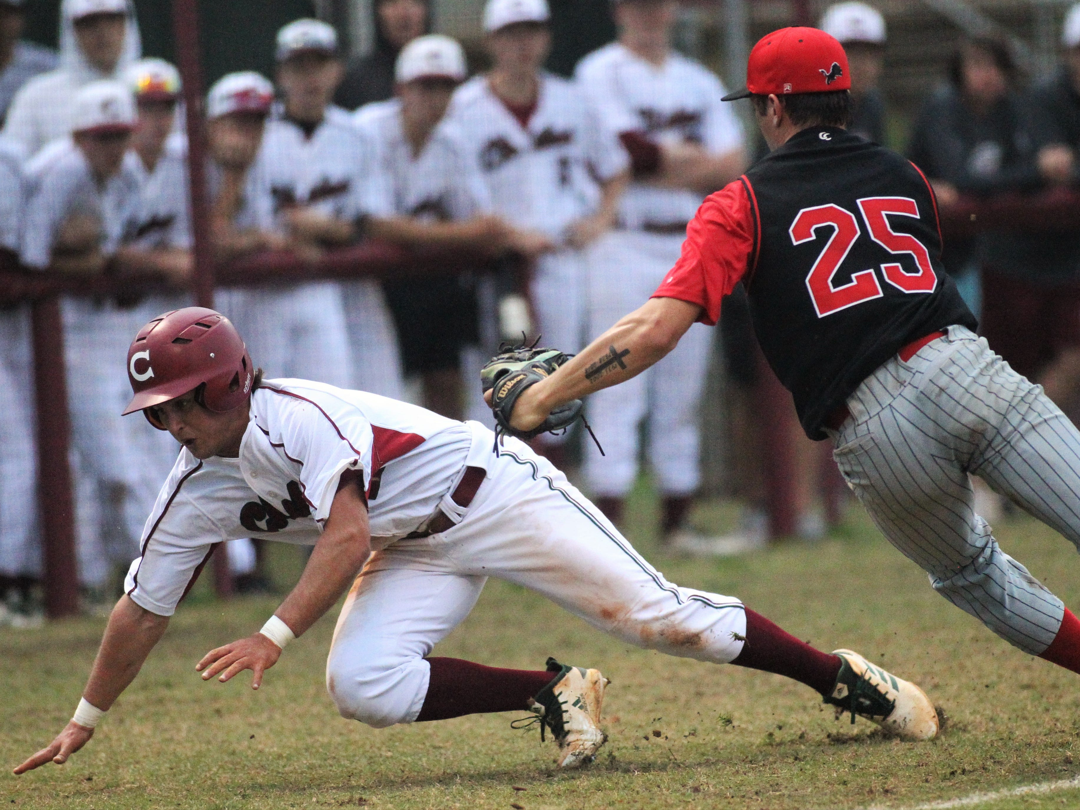 Leon pitcher Tyler Borges tags out Chiles' Cal McCallum during a rundown as Chiles won an 11-6 home game against Leon on Friday, April 5, 2019, to force a season split. The Lions won 3-0 earlier in the week.