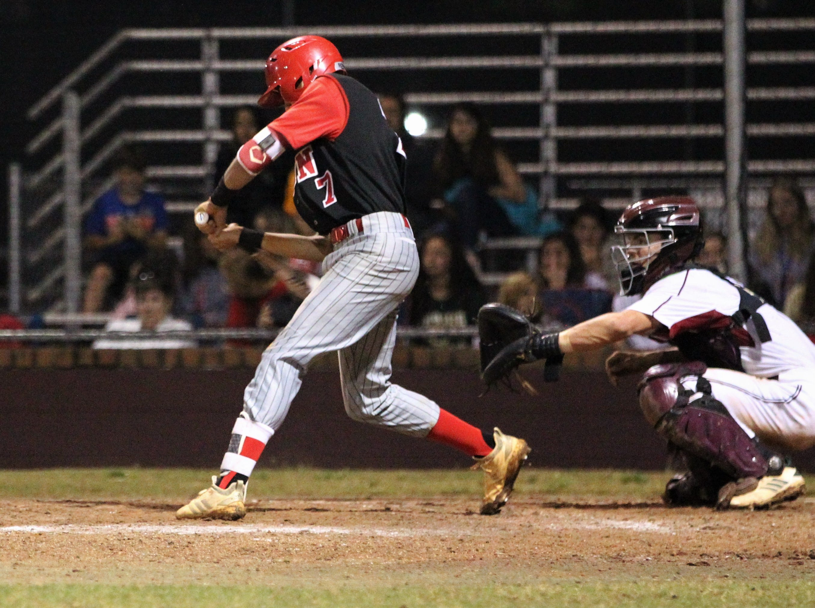 Leon senior True Fontenot bats as Chiles won an 11-6 home game against Leon on Friday, April 5, 2019, to force a season split. The Lions won 3-0 earlier in the week.