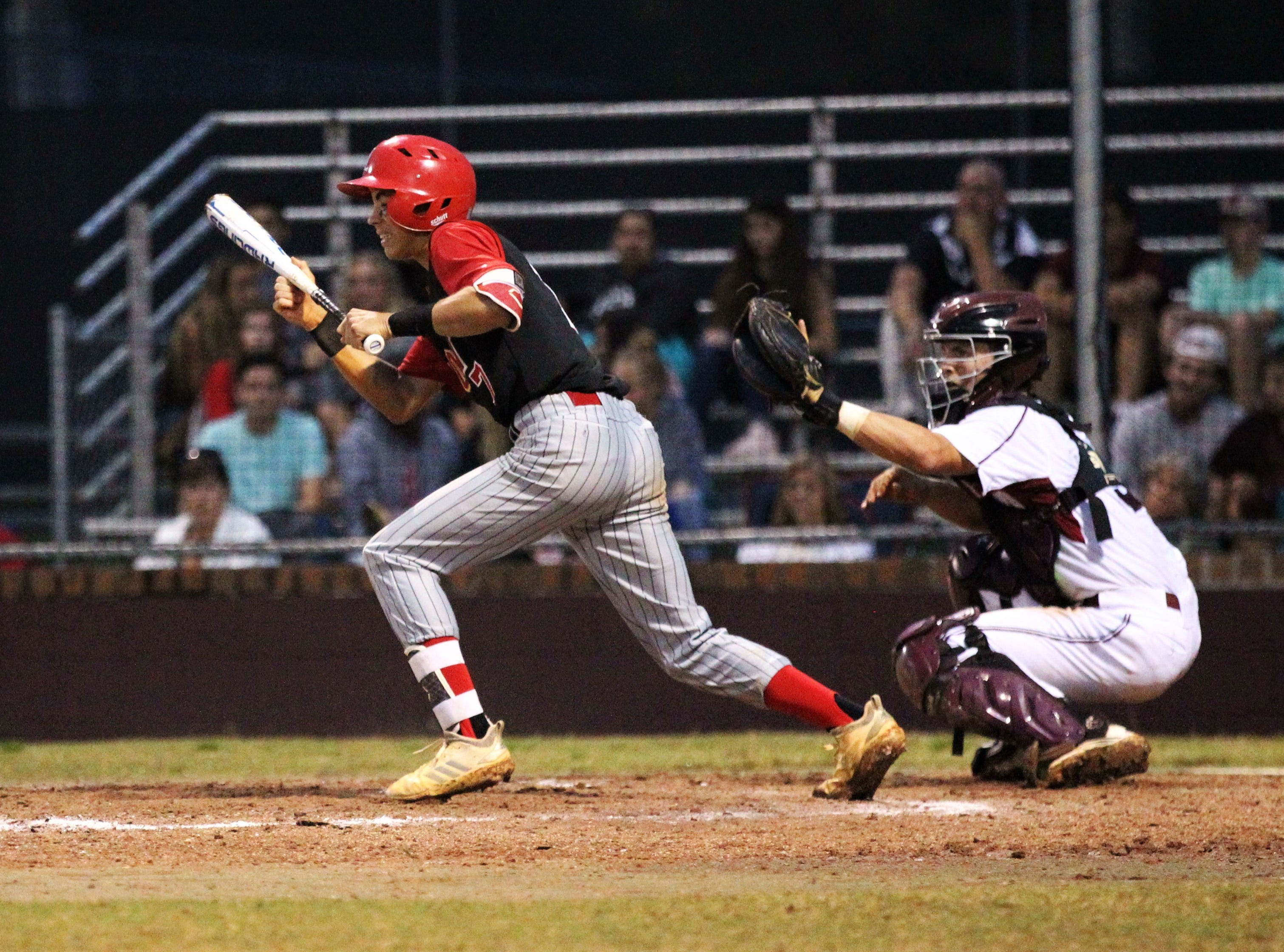 Leon senior True Fontenot looks to bunt as Chiles won an 11-6 home game against Leon on Friday, April 5, 2019, to force a season split. The Lions won 3-0 earlier in the week.