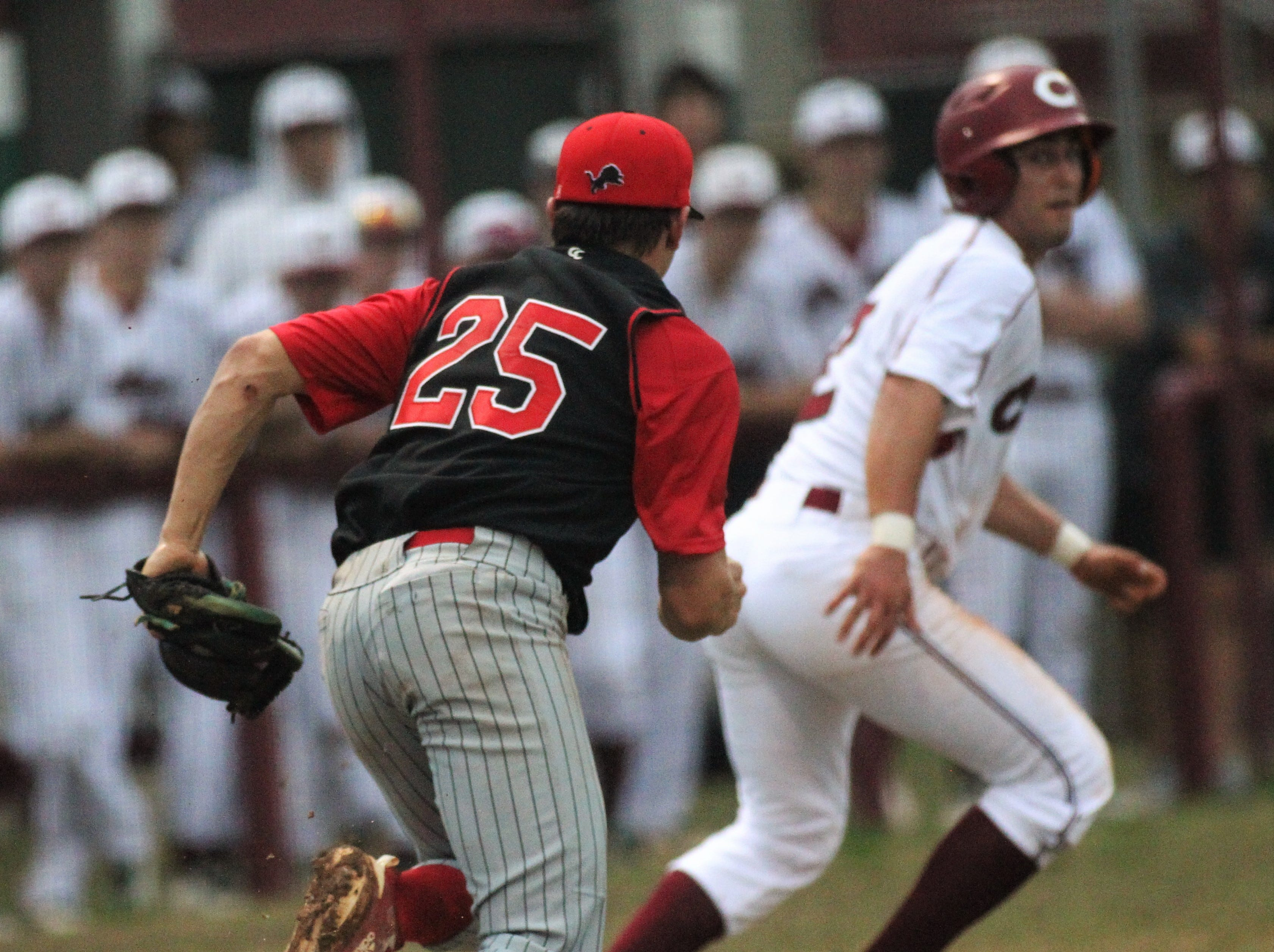 Leon pitcher Tyler Borges chases Chiles' Cal McCallum in a rundown as Chiles won an 11-6 home game against Leon on Friday, April 5, 2019, to force a season split. The Lions won 3-0 earlier in the week.