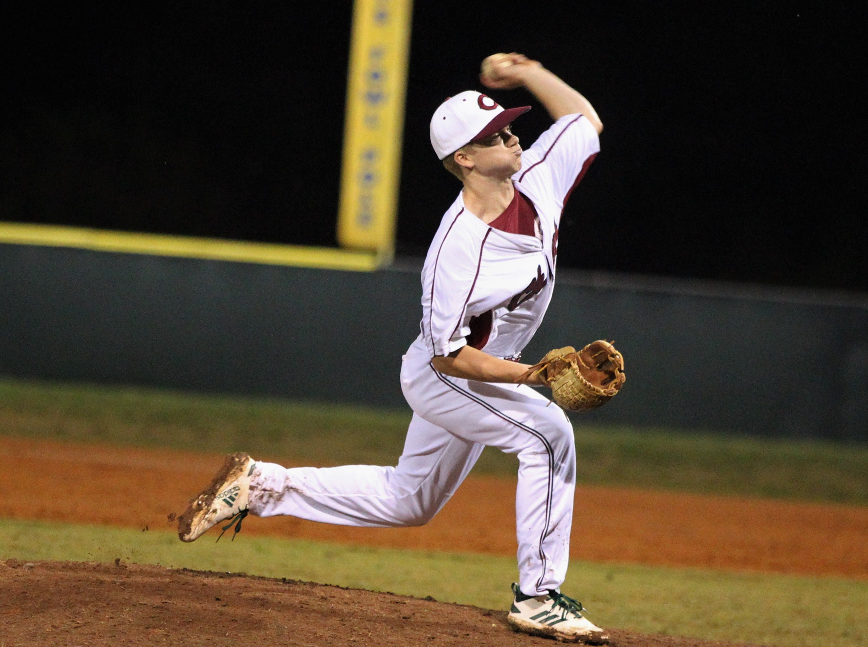 Chiles junior Will Landsberg pitches in relief as Chiles won an 11-6 home game against Leon on Friday, April 5, 2019, to force a season split. The Lions won 3-0 earlier in the week.