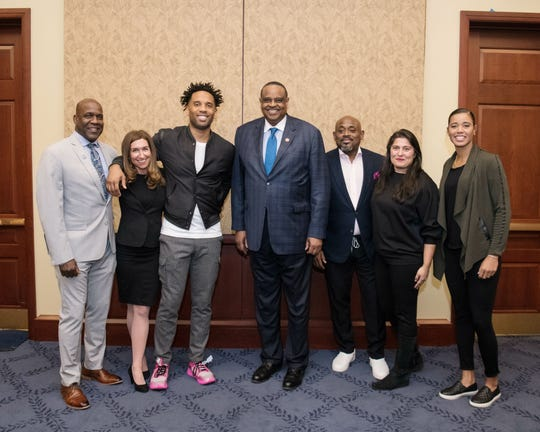 Panelists gather for a group shot after the discussion. From left to right: Robert Turner II, Ph.D., Trish Dalton (co-director/producer), Maverick Carter (producer/CEO of SpringHill Entertainment), District 5 Congressman Al Lawson, Steve Stoute (producer),Sharmeen Obaid Chinoy (co-director/producer) and Natasha Cloud (WNBA Washington Mystics player).