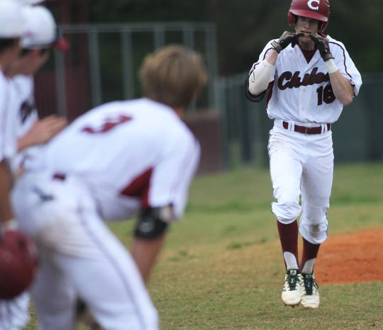 Chiles senior Sam Rudd heads towards home after hitting a homer as Chiles won an 11-6 home game against Leon on Friday, April 5, 2019, to force a season split. The Lions won 3-0 earlier in the week.