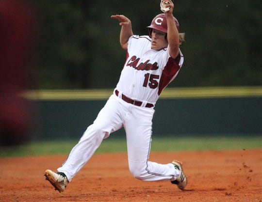 Chiles sophomore Tyler Gerteisen slides safely into third base as Chiles won an 11-6 home game against Leon on Friday, April 5, 2019, to force a season split. The Lions won 3-0 earlier in the week.