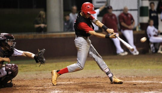 Leon senior True Fontenot laces a hit as Chiles won an 11-6 home game against Leon on Friday, April 5, 2019, to force a season split. The Lions won 3-0 earlier in the week.