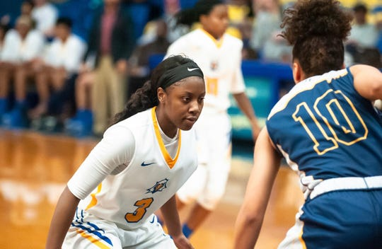 TCC guard Aliyah Lawson lines up against Lya Farcy of Gulf Coast State College on Jan. 5, 2019. She held her to four points.