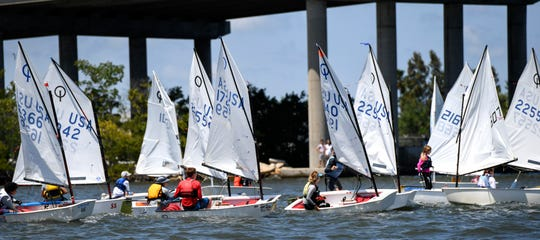 Optimist class sailboats prepare for the start of another race during the Youth Sailing Foundation of Indian River County's Steve Martin Memorial Regatta on Sunday, April 7, 2019, at the southwest corner of the Alma Lee Loy (17th Street) Bridge in Vero Beach. About 80 kids participated in the event featuring three classes of sailboats, Open Bic, 420, and Optimists, competing in a series of races on two courses in the Indian River Lagoon.