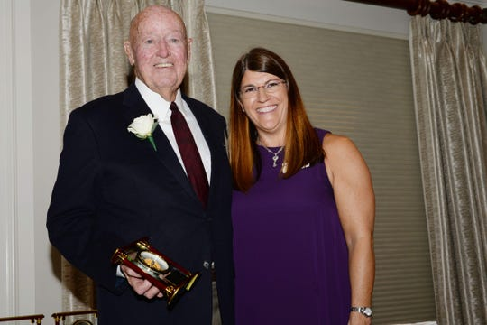 """John P. """"Jack"""" Forde, left, with Council on Aging Board Chair Kathryn Spencer. Forde received the Chairman's Award for sharing his business acumen and generous spirit to benefit thenon-profit community and those they serve."""