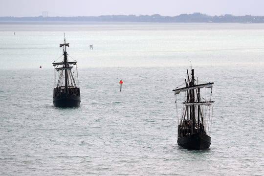 Replicas of the Niña and the Pinta, two of the three boats Christopher Columbus sailed across the Atlantic on his three voyages of discovery to the new world beginning in 1492, make their way north in the Indian River Lagoon on Monday, April 8, 2019. The boats, operated by The Columbus Foundation, will be on display at the Vero Beach City Marina from April 9 through April 17.