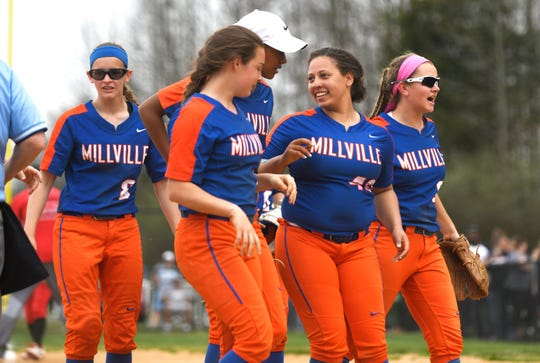 Millville players celebrate after topping Vineland 4-3 on Monday, April 8, 2019.