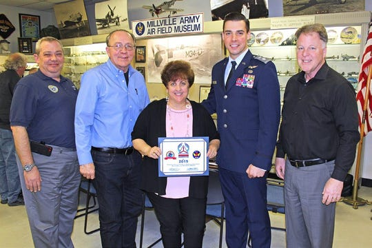 (From left) Lt. Col. Robert E. Jennings, vice commander for operations, New Jersey Wing, Civil Air Patrol; Russell Davis, board chairman, Millville Army Air Field Museum; Lisa Jester, executive director, MAAFM; Lt. Col. Zachary King, government relations advisor, New Jersey Wing, Civil Air Patrol; and Chuck Wyble, president, MAAFM, were present as the museum received recognition for its partnership with and support of the Civil Air Patrol.