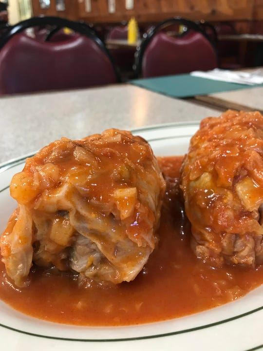 Stuffed cabbage from New City Kosher Deli in New City. Photographed April 4, 2019.