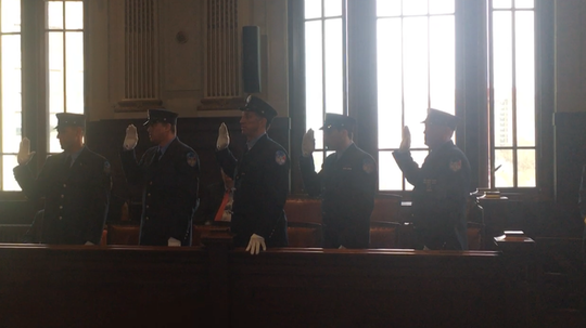 Yonkers newest fire lieutenants are sworn in. From left: Vincent Garcia, Allen Reilly, Sean Power, Gerard Boyle and Brian Turenchalk