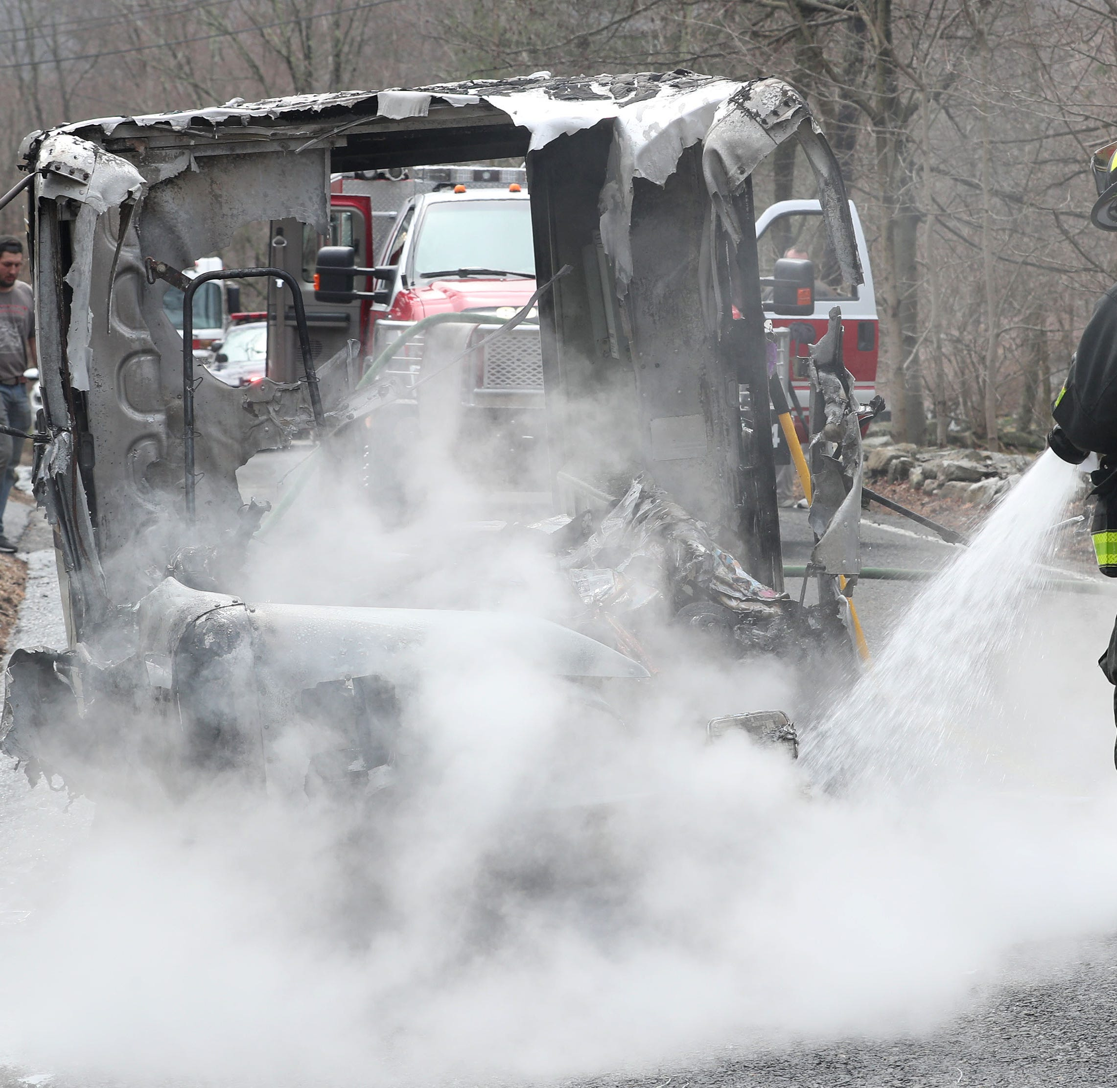 Engine fire destroys mail truck, burns some mail in Somers
