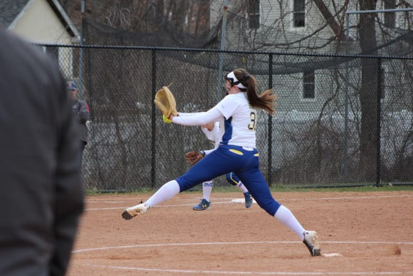 Mahopac softball pitcher Shannon Becker throws a pitch during a game against Fox Lane. Mar. 29, 2019.