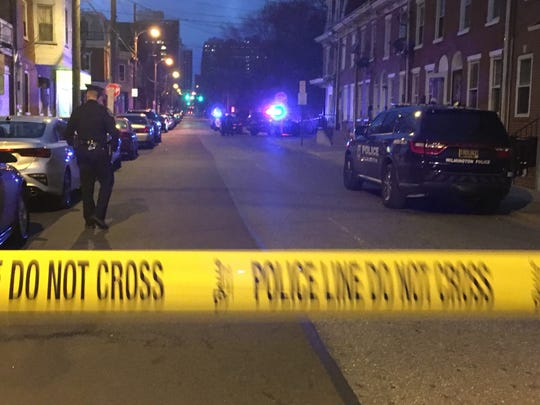 Wilmington Police investigate a shooting in which six people were shot Sunday in the city's East Side Neighborhood.