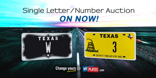 Last single letter, number license plates in Texas up for bid