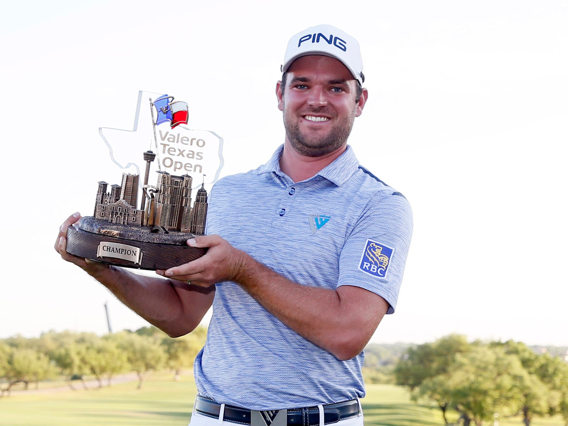 April 7: Corey Conners celebrates after winning the Valero Texas Open at TPC San Antonio-AT&T Oaks Course.