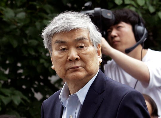 In this July 5, 2018 file photo, Cho Yang-ho, the chairman of Korean Air Lines Co., arrives for hearing to review the prosecution's request for an arrest warrant on charge of embezzlement.