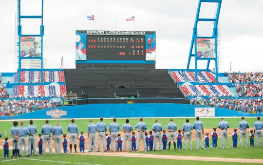 The Tampa Bay Rays played an exhibition game against the Cuban national team in Havana in March 2016.
