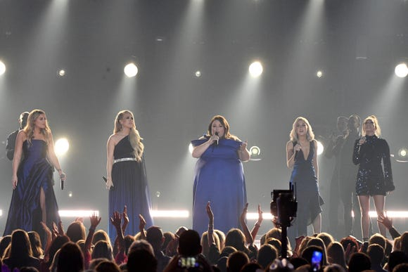 Lauren Alaina, from left, Carrie Underwood, Chrissy Metz, and Maddie Marlow and Tae Dye of Maddie & Tae, perform during the 54TH Academy of Country Music Awards Sunday, April 7, 2019, in Las Vegas, Nev.  ORG XMIT: TNNAT (Via OlyDrop)