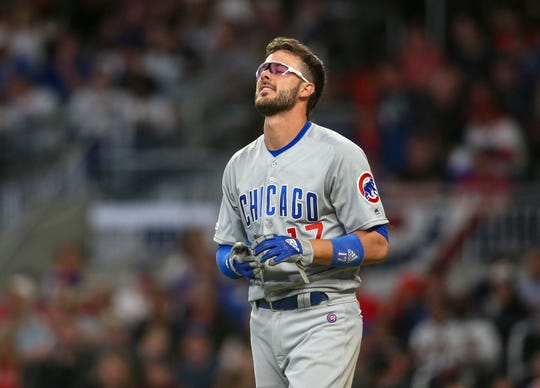Cubs third baseman Kris Bryant reacts after striking out.