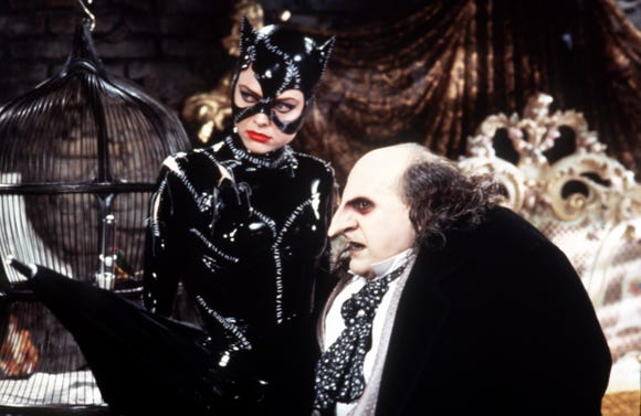 """Michelle Pfeiffer as Catwoman and Danny DeVito as Penguin in """"Batman Returns."""""""