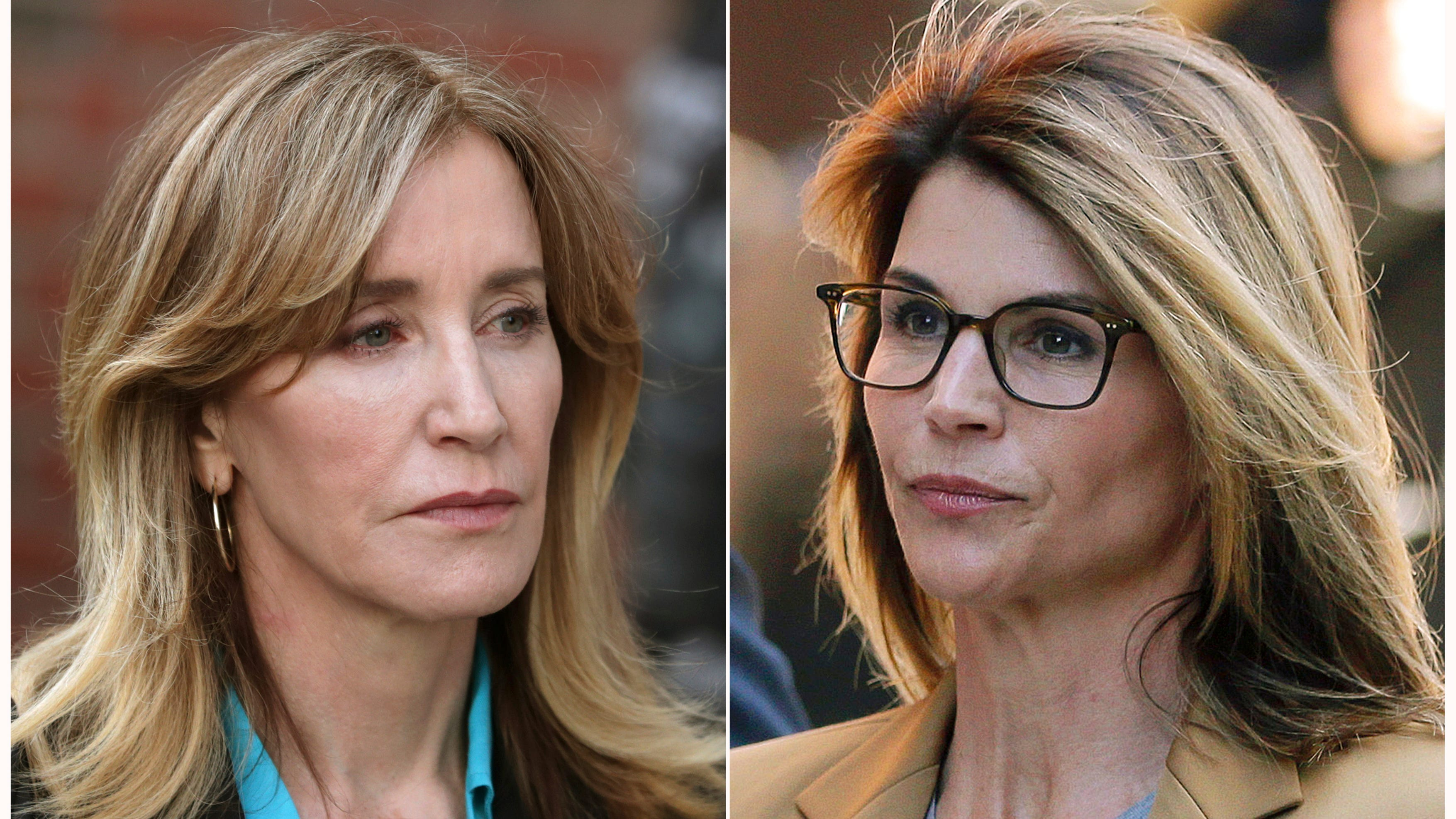 Actresses Felicity Huffman, left, and Lori Loughlin outside of federal court in Boston on April 3, 2019.