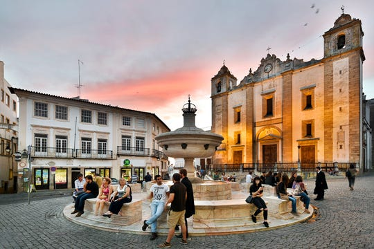 The 16th-century marble fountain on the main square in Évora, Portugal, was once an important water source.