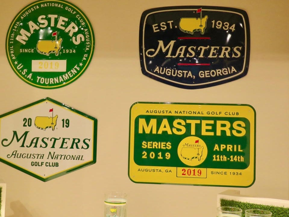 Glasses & Signs: $15-35 – Pub signs and cocktail glasses range in price, with vibrant colors and all the mancave coolness you'd expect from the Masters.