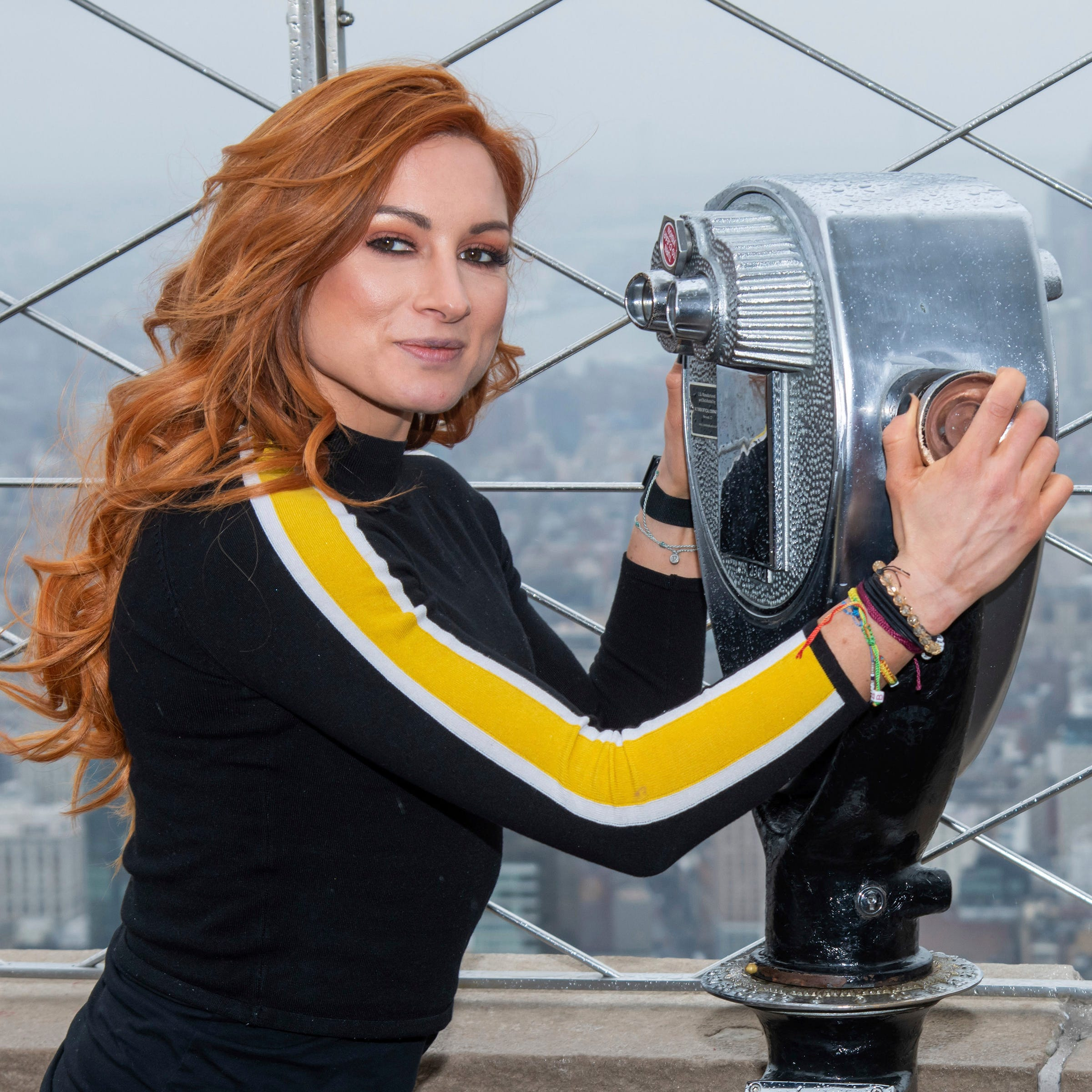 WWE Superstar Becky Lynch visits the Empire State Building to promote WrestleMania 35 on Friday, April 5, 2019, in New York. (Photo by Charles Sykes/Invision/AP) ORG XMIT: NYCS106