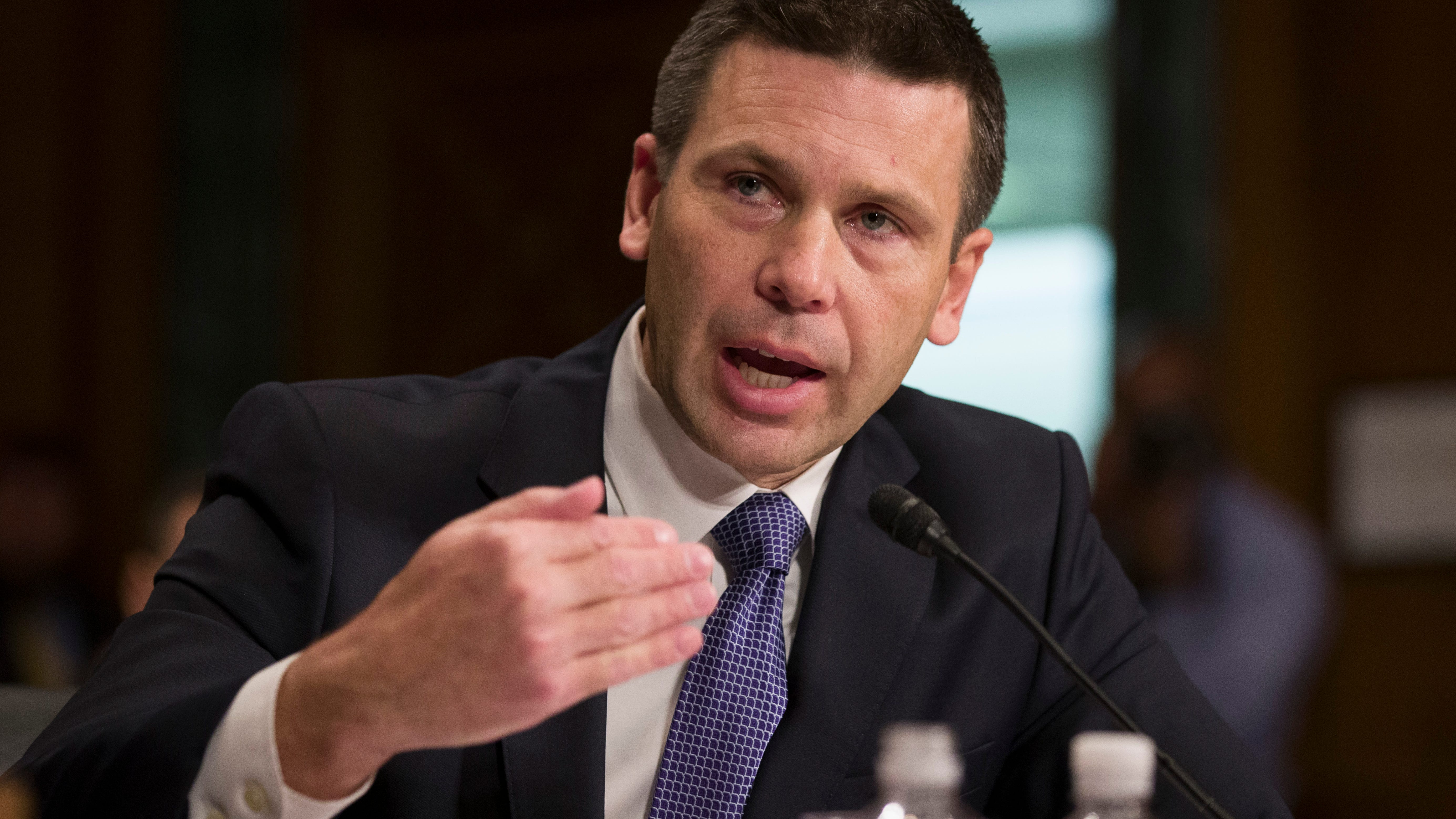 U.S. Customs and Border Protection Commissioner Kevin McAleenan speaks during a hearing of the Senate Judiciary Committee on oversight of Customs and Border Protection's response to the smuggling of persons at the southern border, in Washington, March 6, 2019.   President Donald Trump said in a tweet on April 7, 2019, that McAleenan will become the acting head of the Department of Homeland Security, after he accepted the resignation of Homeland Security Secretary Kirstjen Nielsen.