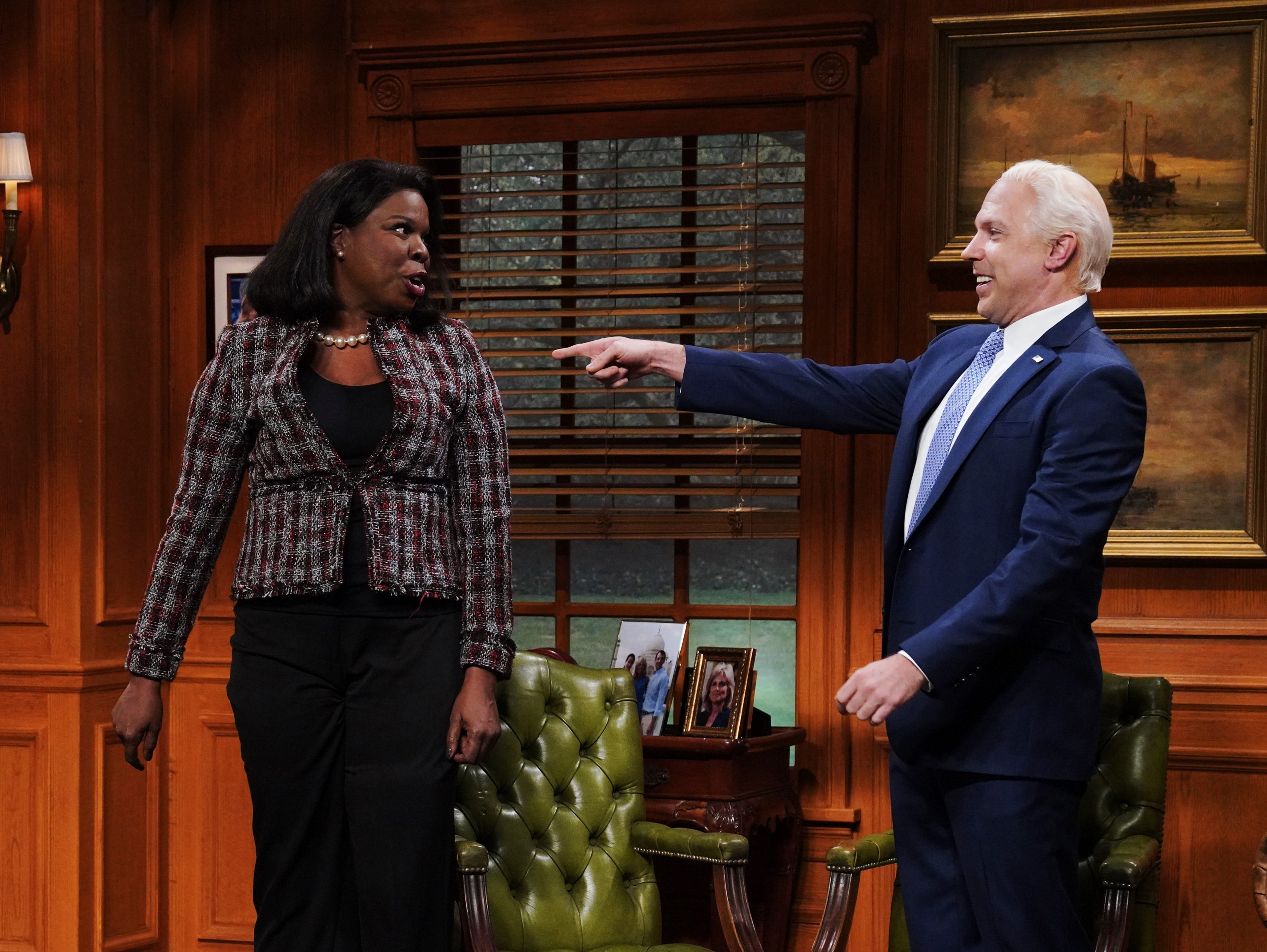"Jason Sudeikis make a surprise return to ""SNL"" to reprise his role as Joe Biden in the opening sketch along side Leslie Jones. The cold open spotlighted the recent focus on the former vice president's touchy-feely ways."