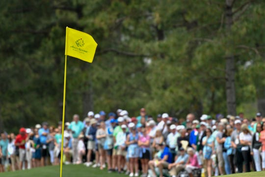The flagstick at the 17th green during the final round of the Augusta National Women's Amateur golf tournament at Augusta National GC.
