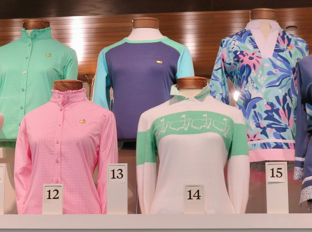 """""""Aruba"""" style shirt, sweater: $129-189 –Women's wear has increased in variety and boldness factor, with the $189 sweater going full-retro on the logo front (item 14), while the """"Aruba"""" style shirt lands at $129."""