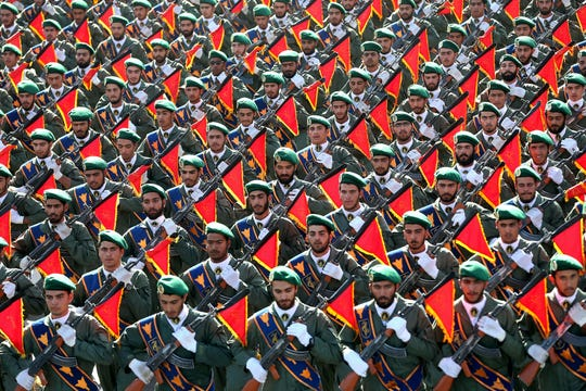 Iran's Revolutionary Guard troops march in a military parade marking the 36th anniversary of Iraq's 1980 invasion of Iran. Photo: Sept. 21, 2016.
