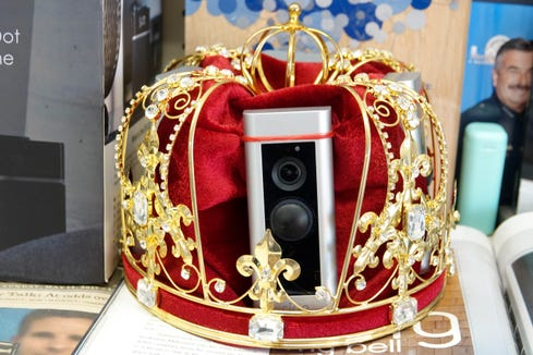 """Jamie Siminoff has long described himself as the """"kind of doorbells,"""" and in response, one of his investors gave him a present: a Crown covered with Ring doorbells."""
