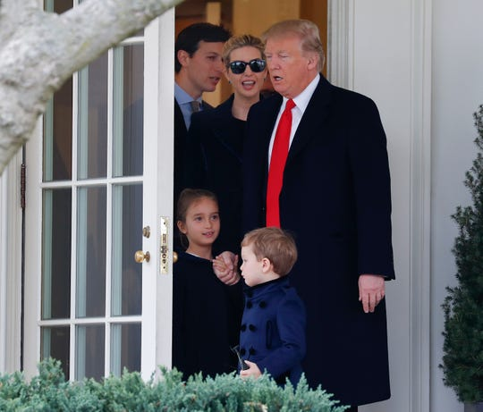 President Donald Trump and daughter Ivanka Trump and her husband, Jared Kushner.